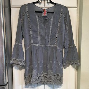 Johnny Was Gray Cupra Rayon & Lace Top